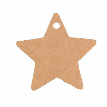 25 Brown Star Shapped Name Tags Whole Punched Party Favor Gift Bag Wedding Special Occasion Tags