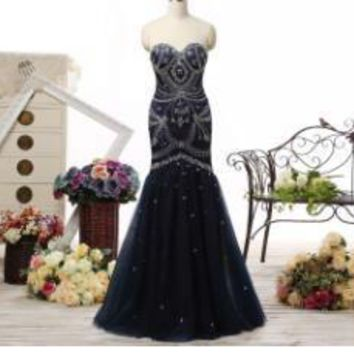 Sexy Sweetheart New Arrival prom dresses Black Tulle Lace up of Back Sleeveless Mermaid with Beaded