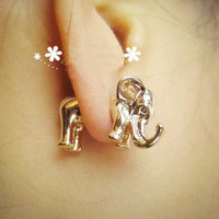 Cute 3D Elephant Earrings Studs