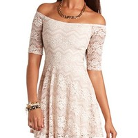 CHEVRON FLORAL LACE SKATER DRESS