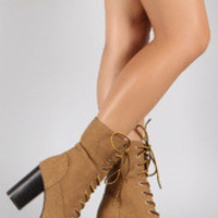 Women's Qupid Faux Fur Cuff Lace Up Lug Sole Platform Heeled Combat Ankle Boots