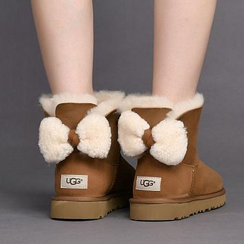 UGG Women Cute Bow Casual Boots Shoes