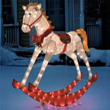 Rocking Horse Christmas Yard Art - 150 Clear Mini Lights