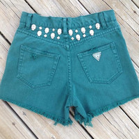 High Waisted Studded Green Shorts Waist Size 27 by DenimAndStuds