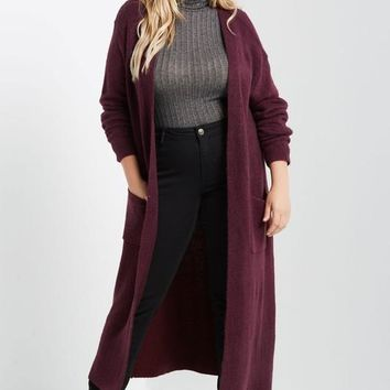 Burgundy Soft Maxi Cardigan | Plus