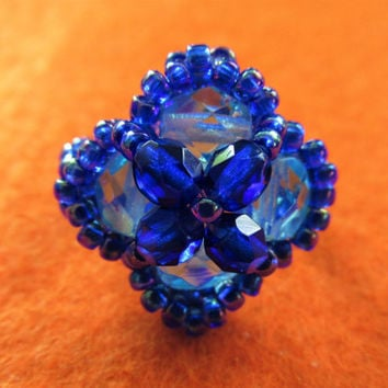 Handmade blue crystal beaded ring