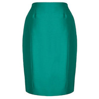 Petite Green Silk Wool Pencil Skirt at debenhams.com