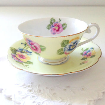 Vintage Occupied Japan Tea Cup and Saucer Diamond Pattern Cottage Style Tea Party Thank You or Housewarming Gift Inspiration