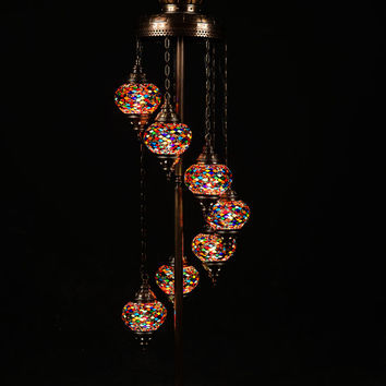 7 ball 110-230v Turkish Moroccan Hanging Glass Mosaic Floor Lamp Lighting