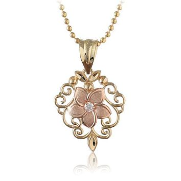 14K Two-Tone Gold Plumeria Fancy Pendant with Clear CZ