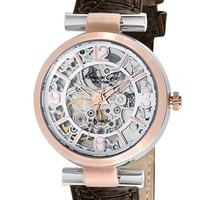 Women's Kenneth Cole New York Automatic Leather Strap Watch, 32mm - Brown