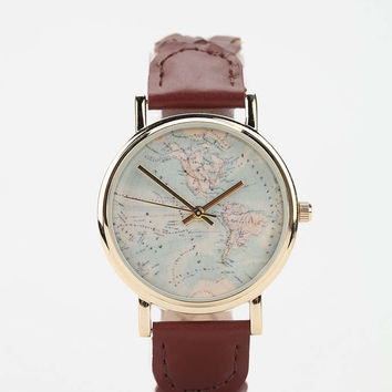 Braided Leather Map Watch - Urban Outfitters