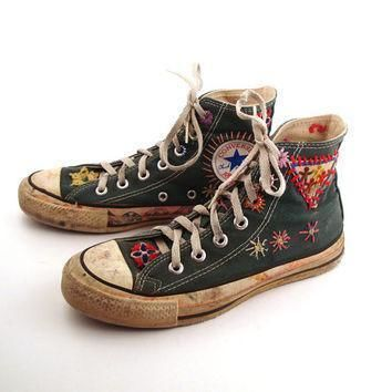 converse shoes sneakers 70s vintage 1970s lace up high hi top patched size 4 1 2