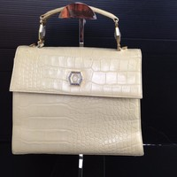 Authentic GIANNI VERSACE Medusa Logos Hand Bag Ivory Leather Vintage 5L180060#