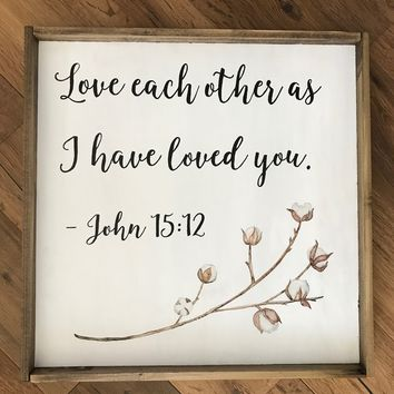 """Love Each Other"" Sign with Cotton Stem"