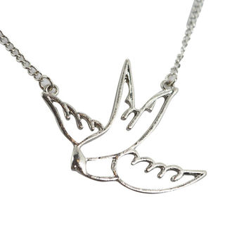 Rockabilly Pinup Swallow Tattoo Girl Bird Necklace