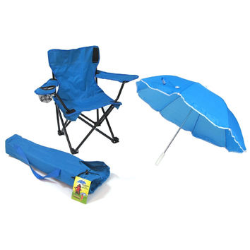 Kids,Toddlers Baby Umbrella Camp Beach Chair with Umbrella Shade, Blue