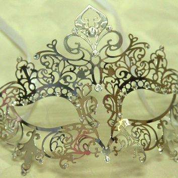 Silver Elegant Crown Masquerade Laser Cut Mask with Rhinestones