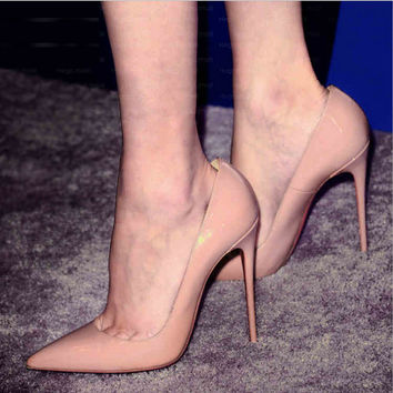 Pointed shallow mouth high heels Nude