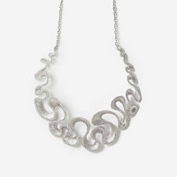 Silver Tentacle Waves Statement Necklace