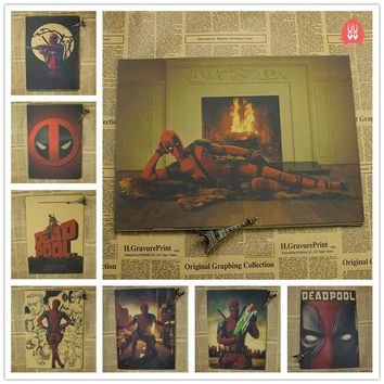 Vintage Superhero Deadpool Movie Poster Bar Kids Room Home Decor Comics Retro Kraft Paper Painting Wall Sticker Wall Decals