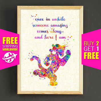 Disney Winnie the Pooh Watercolor Print Tigger Quote Poster Home Decor Wall Art Nursery Art Prints Gift - FERE SHIPPING -429s2g