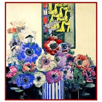 Charles Rennie Mackintosh's Still Life of Anemones Counted Cross Stitch or Counted Needlepoint Pattern