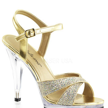 Fabulicious Gold Sparkle Flair Criss Cross Sandal