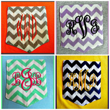 Monogrammed Personalized Chevron Pocket Tee 56 tshirt colors to choose from Short Sleeved