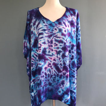 Caftan Tunic, Tie Dye Poncho, Women's Poncho, Maternity Top, Oversized Tunic, Beach Cover, Hippie Clothes