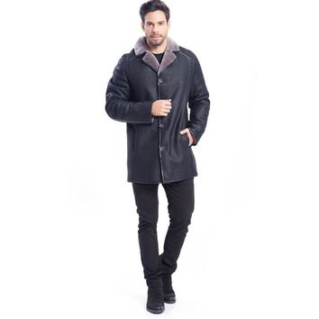 New Black Leather Jacket with Fur Lining Lapel