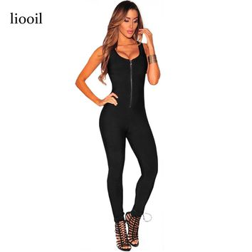 Liooil Sexy Club Zip Up Black Bodycon Jumpsuit Summer Autumn Sleeveless Deep V Neck Backless Women Rompers Slim Stretch Overalls