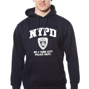 Adult NYPD Navy Pullover Hoodie with White Chest and Sleeve Print