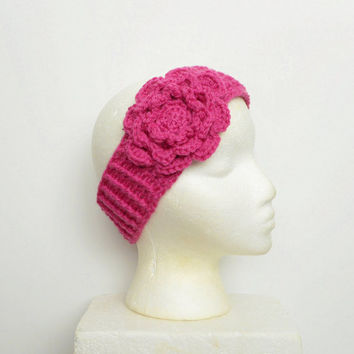 Crochet Winter Ear Warmer Headband in Pink with Large Rose, ready to ship.