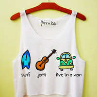 Surf, Jam and Live In A Van Crop Tank Top