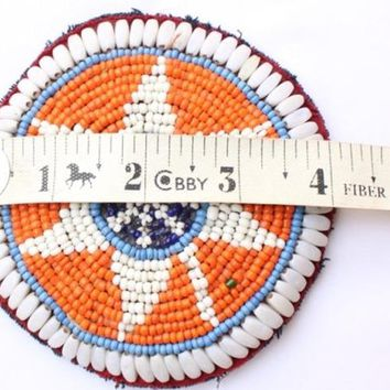 Banjara Patches Tribal Beads Baby Patches, Ethnic Medallions, Vintage Gypsy Embellishment Patches, Tribal, Hippie, Boho, Orange Patch