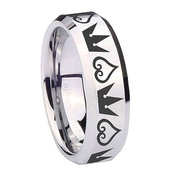 8MM Mirror Bevel Edges Hearts and Crowns Silver Tungsten Laser Engraved Ring