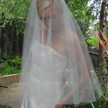 "Plain 64"" Drop Veil with Raw Cut Edge"