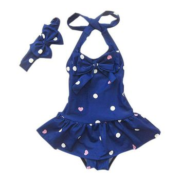 Bathing Children's Swimsuit Headband Dots Printed Baby Girl Swimwear Beach Clothes One-piece Baby Swimwear For Girls