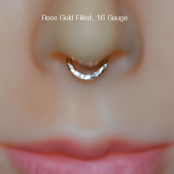 Septum Ring, Nose Ring, 14k Gold Filled Hoop Earring, cartilage/tragus/helix/rook/daith piercing 16g handcrafted 16 gauge nose rings
