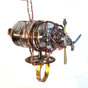 Small Steampunk Airship Christmas Ornament
