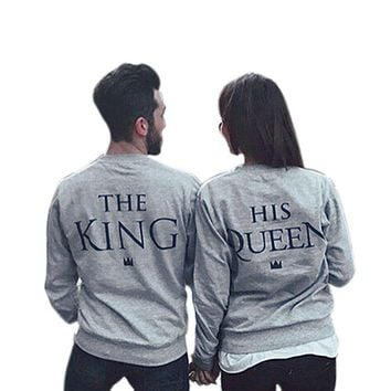 King and Queen Printed Couple Lovers Matching Long Sleeve Hoodie Sweatshirt Jumper Pullover Top Hot Selling