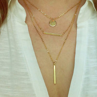 Gold Bar Necklace / Vertical Bar Necklace / Simple Style Jewelry / Minimalistic Jewelry / Simplistic and Layered / N122