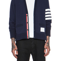 High Vent Cotton Cardigan in Navy