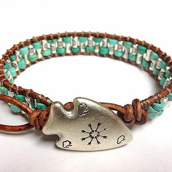Southwestern Turquoise Leather Bracelet with by DESIGNbyANCE