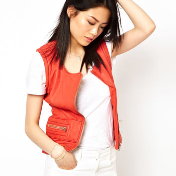 Iro Sleeveless Leather Biker Jacket with Zips