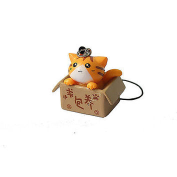 1pc Cute Lovely Cartoon Cat In The Box Cell Phone Charm at Random LS2