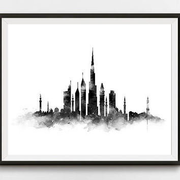 Dubai Print, Dubai Skyline, Art Print, Black and White, United Arab Emirates, Cityscape, Poster, Watercolor Painting, Home Decor, Download