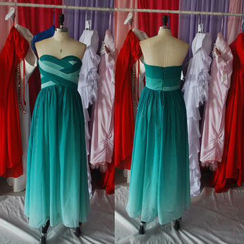 Gradient Chiffon Floor Length Pleated Bodice A-Line Sweetheart Elegant Bridesmaid Dress Prom Dress