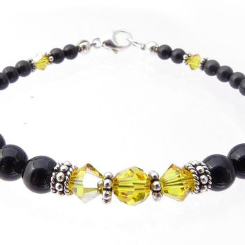 Black Pearl Jewelry: Bracelets w/ Simulated  Yellow Topaz Accents in Swarovski Crystal Birthstone Colors